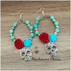 Day of the Dead Sugar Skull Rose and Turquoise Bead Hoop Earrings by MischievousCharm on Etsy https://www.etsy.com/listing/252117255/day-of-the-dead-sugar-skull-rose-and
