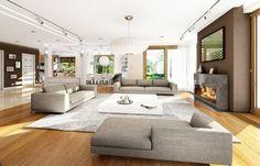 Kominek i drewniana podłoga świetnie ocieplają przestronne wnętrze salonu. Projekt: Wiola. Fot. MG Projekt My Dream Home, Patio, Wood Flooring, Living Rooms, Outdoor Decor, House, Furniture, Design, Home Decor