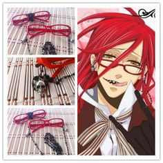 Cosplay Red glasses -- Kuroshitsuji Black Butler Grell Sutcliff Cosplay Costume