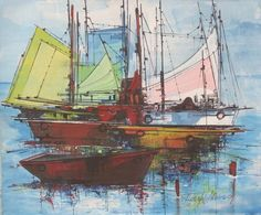 This is a painting of boats made by Joseph Aderson, who lives in Port-au-Prince. It was likely painted sometime after 1980. I like the reflection of the boats on the water. deLisser, Nicky. Gallery of West Indian Art, Shopify, 2015. Accessed 22 Sept. 2017.