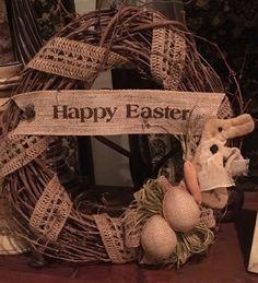 "Primitive Happy Easter Grapevine Wreath Burlap  Eggs Prim Bunny Rabbit 14"" New    eBay"