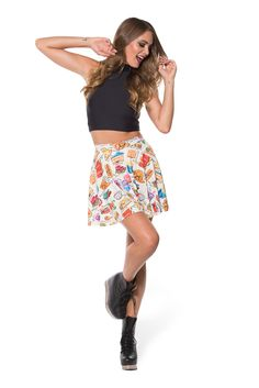 Munchies Cream Skater Skirt (WW 48HR $50AUD / US - LIMITED $45USD) by Black Milk Clothing