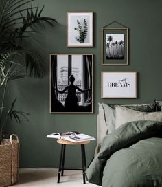 botanical interior design ideas dark green bedroom with white art. The Best in Botanical Interior Design Ideas for your Home. Botanical interior design ideas from oversees - TLC INTERIORS Vintage Interior Design, Botanical Interior Design, Bedroom Interior, Bedroom Design, Bedroom Decor, Bedroom Green, Home Decor, Bedroom Color Schemes, Bedroom Colors