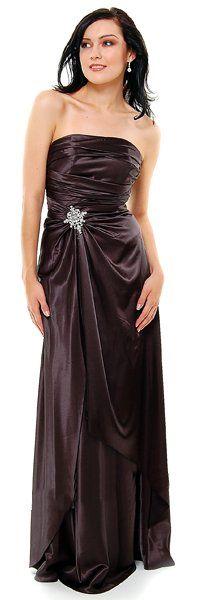 Long Strapless Black Bridesmaid Dress Prom Satin Rhinestone Pleated Bodice $99.99