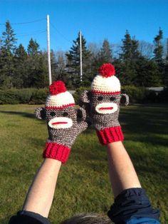 Ladies Sock Monkey Mittens