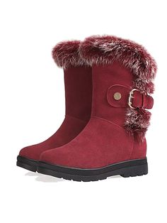 Wine Red Buckle Snow Boots With Fur | Choies