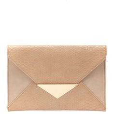Nude Triangle Lock Clutch ($20) ❤ liked on Polyvore