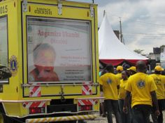 The Lions Clubs funded road-show van spread the measles message using a public address system.