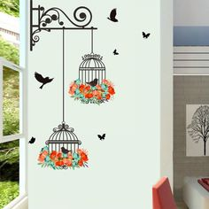Plane Wall Sticker Fheaven Waterproof Environmental Protection Birdcage Decorative Painting Bedroom Living room TV Wall Decoration Wall Stickers Mural ** For more information, visit image link. (This is an affiliate link) Deco Stickers, Wall Stickers Murals, Window Stickers, Wall Stickers Home Decor, Wall Murals, Sticker Deco, Nursery Stickers, Decorative Stickers, Sticker Mural