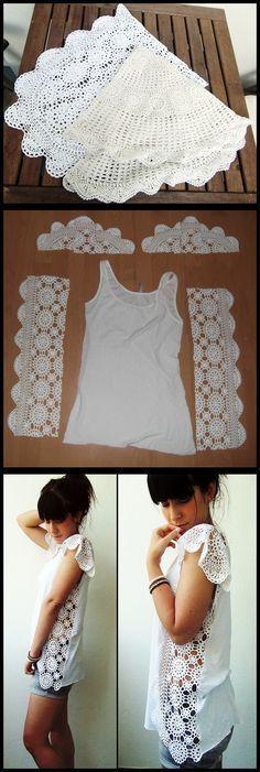 La bonne idée... Bien plus jolis sur un t-shirt que sur une commode ces petits napperons !