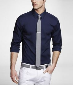 Express men's clothing gives you function and style in one. Check out our new men's fashion arrivals in suits, dress shirts, jeans, shirts and much more to update your men's style. Blue Shirt Outfit Men, Dark Blue Dress Shirt, Navy Shirt Dress, Dress Shirts, Business Casual Men, Men Casual, Casual Outfits, Formal Shirts For Men, Men Formal