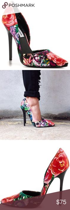 """Steve Madden Varcityy Floral Heels If you thought low-cut was for necklines, think again! The Steve Madden Varcityy Floral Multi D'Orsay Pumps have a fabulous floral-patterned vegan leather upper that dips into sizzling d'Orsay cutouts on both sides. Bright coral red, pink, and hints of green and black emphasize the chic, feminine design. Pointed toe. 4.5"""" shiny black synthetic heel. Padded insole. Rubber sole has nonskid markings. All vegan-friendly, man made materials. Gently used. Steve…"""