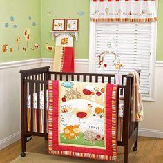 Red Neutral Farm Animal Nursery 5pc Discount Unisex Crib Bedding Set Boy Girl