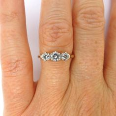 Classic Antique diamond Trilogy engagement ring 18ct Platinum 3 stone c1930's £385.00 by vintagejewelbox on Etsy.  #trilogyring #engagementrings #diamondtrilogyring