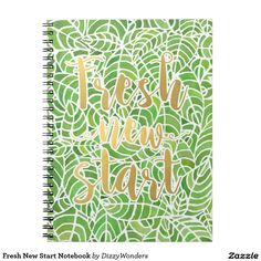Fresh New Start Notebook -Perfect gift for a nature lover or stationary geek! A hand painted watercolour design inspired by the Palm Room, Kibble Palace in Glasgow. The leaves are a fresh green - in tones of the 2017 Pantone of the Year - Greenery. The slogan is a nod the the colour inspiring fresh new starts. This would be great to brighten note taking and bring an element of nature into daily life.