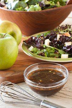 Mixed Green Salad with Apple Balsamic Vinaigrette - Goodness in every sip and spoonful.  Check out more smoothies, snacks and spreads at Motts.com/recipes.