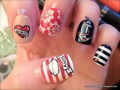 Custom handpainted sailor / nautical themed set of press-on nails with rockabilly vibes for hen / bachelorette party. Bachelorette Party Nails, Nautical Bachelorette, Bachelorette Weekend, Rockabilly Nails, Tribal Trends, Nautical Nails, Estilo Pin Up, Nail Time, Beauty Must Haves