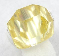 Signed Yellow Faceted Lucite Ring - Garden Party Collection Vintage Jewelry