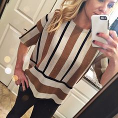 J Crew Short sleeve sweater Great statement piece!  Short sleeve striped Merino wool sweater. Great condition. Light makeup on inside of neck.  Brown, grey and tan stripe.  Perfect loose sweater that pairs well with anything from jeans to work slacks.  No trades. Reasonable offers welcome Note: 20% off bundles of 2+ items in my closet! J. Crew Sweaters