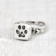 Puppy paw ring   #Dog #DogMonth #ring #jewelry #cowgirljewelry  http://www.islandcowgirl.com/