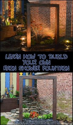 Build a beautiful rain shower fountain for your backyard! Transform your backyard into an amazing outdoor space with this contemporary DIY rain shower fountain! Is this going to be your next project? Diy Water Feature, Backyard Water Feature, Large Backyard, Outdoor Water Features, Water Features In The Garden, Garden Features, Diy Fountain, Garden Fountains, Large Outdoor Fountains