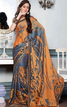 Picture of Elegant Blue and Orange Color Casual Saree