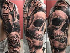 Clock Tattoos, Skull Sleeve Tattoos, Grim Reaper Tattoo, Tattos, Skulls, Male Tattoo, Watch Tattoos, Tattoos, Skeletons