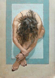 """Proprio lei"" - Elena Arcangeli, 2009 {figurative female discreet nude woman painting}"