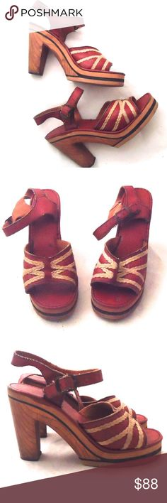 """70s Clogs Platform Sandals Wood Heels Leather 8 Amazing oxblood leather (could be faux) sandals with cute rope detailing, leather straps and an exotic wood platform and two tone foam rubber soles.   Material:  leather (possibly faux) inner and upper, wooden heel, foam rubber non-slip Maker: It's on the inner but I can't read it Era:  70's Size: unmarked  (I'm an 8B and they fit me perfectly)  Insole- 9.5"""" Width- 3.5"""" (at the widest part of the shoe) Heel- 4""""   Platform Toe-1""""  Condition…"""