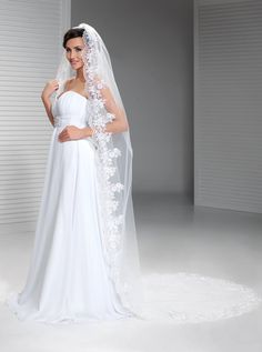 Single Tulle Long Bride Veils with Appliqued Edged