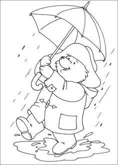 Beertje Paddington in de regen kleurplaat
