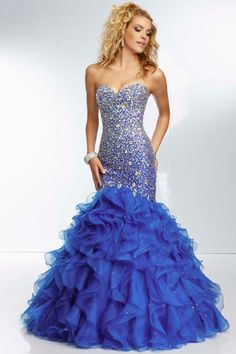2014 Passionate Mermaid Prom Dress Full Beaded Bodice Floor Length With  Ruffled Organza Skirt USD 299.99 193777395