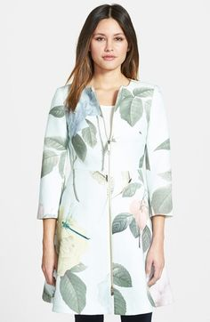 Ted Baker London Rose Print Textured Fit & Flare Jacket available at #Nordstrom
