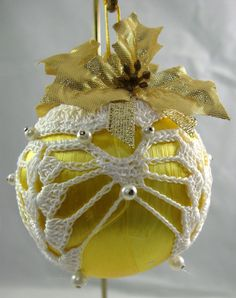 Crochet Covered Yellow Satin Christmas Ornament 613