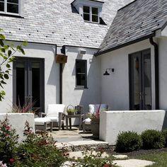 home exterior gutter dark white house - Google Search