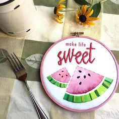 Happy Thursday! Get out there and make life sweet for someone else today.  --- In honor of summer goodness and the sweet treats of the season I've been playing with some fun hoops like this one. Not sure if I'll list it in my shop or not but it was fun to work on!