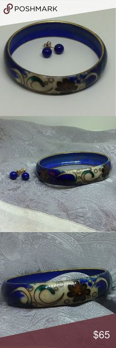Vintage Cloisonne Bracelet & 14k Earrings Wide Chinese cloisonne enamel bangle bracelet in deep lapis blue decorated in a floral pattern of red, cream, and gold. Matching blue stud earrings are marked 14k Yellow Gold. A gorgeous set of vintage gold jewelry! Jewelry