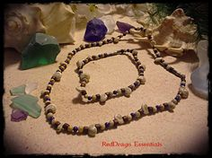 """17"""" Necklace 9"""" Anklet Natural Shell  Wood Bead Barrel Clasp"""