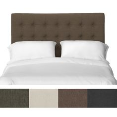 The Portfolio Kolmar button tufted upholstered headboard is accented with button tufted detailing. The Kolmar headboard adjusts for different height mattresses and will fit either a king or California king size bed frame.
