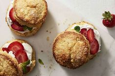 Lemony cornmeal biscuits for a fresh take on shortcake. Cornmeal Biscuits Recipe, Gluten Free Biscuits, Biscuit Recipe, Recipe King, Baking Powder Biscuits, Shortcake Biscuits, King Arthur Flour, Flour Recipes, Bread Recipes