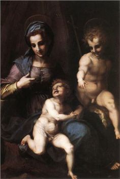 Madonna and Child with the Young St. John - Andrea del Sarto. c.1518. Oil on panel. 154 x 101 cm. Galleria Borghese, Rome, Italy.