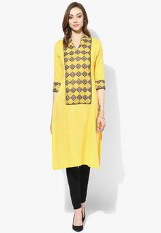 Straight Kurta With Collar Band And 3/4Th Sleeves Detail Look stylish and trendy by wearing this yellow coloured kurta for women from Sangria. Made from cotton, this printed kurta has a round neck. You can team this kurta with matching bottoms to look smart. http://jbo.ng/iNjTVjo