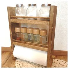 ポール付き kitchen paper rack ⁑h34.5【受注製作】キッチンペーパースパイスラック 全茶