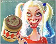 Caricatura de la bella actriz de cine Margot Robbie, encarnando a la disparatada Harley Quinn en la...