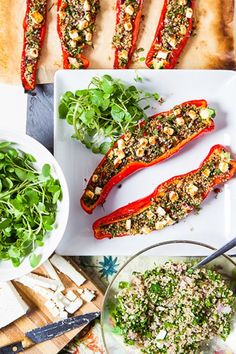 Quinoa-Stuffed Peppers With Feta - A nutritious, summery dish from Hemsley + Hemsley packed with health-boosting ingredients Veggie Recipes, Vegetarian Recipes, Cooking Recipes, Healthy Recipes, Savoury Recipes, Healthy Family Meals, Healthy Snacks, Healthy Eating, I Love Food