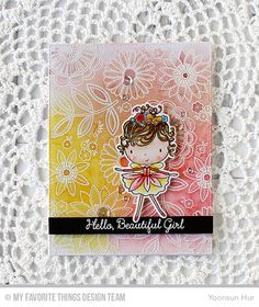 RejoicingCrafts: MFT June Release Countdown Day 5. MFT Beautiful Girl & Funky Flowers Stamp Sets. #mftstamps #flower #beautiful