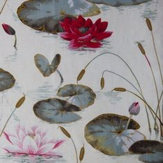 One Kings Lane - The Fabric Shop - Floating Lily Linen-Blend Fabric, Multi Fabric Shop, Fabric Wallpaper, Color Inspiration, Lily, Textiles, Fancy, Kings Lane, Creative, Pattern