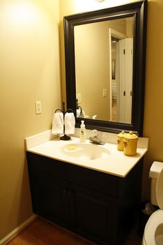 Black Or Espresso Vanity And Trim Around Mirror