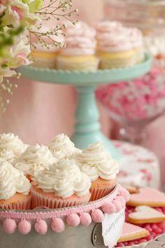 pom pom fringe on cake pedestals for wedding