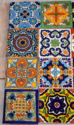 "12 Mexican Talavera tiles hand-painted 4 ""X ✔ About 12 pieces of tiles ~ ~ ~ ~ ~ ~ ~ ~ ~ ~ ~ ~ ~ ~ ~ ~ ~ ~ ~ ~ ~ ~ ~ ~ ~ Add a special touch to any area or project with these unique beautiful Mexican tiles. Mexican Art, Mexican Tiles, Mexican Patio, Mexican Colors, Mexican Tile Floors, Mexican Tile Kitchen, Mexican Garden, Outdoor Kitchen Countertops, Mexican Kitchens"